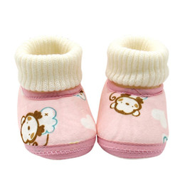 Wholesale Fleece Baby Shoes - Wholesale- Winter Infants Baby Shoes Boots Warm Fur Wool Booties First Walkers Ankle Snow Boots Fleece Shoes