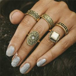 Wholesale Tibetan Wedding Ring - Unicorn Vintage Boho Stone Knuckle Rings Tibetan Oval Gold Color Flower Ring Set for Woman Man 5PCS Set Anillos Punk Jewelry