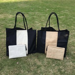 Wholesale Wholesale Men Linen Sets - Large Jute Tote with Cosmetic Set Wholesale Blanks Patchwork Jute Beach Bag with Matched Clutch Large Shopping Tote Bag Set DOM106438