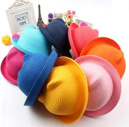 Chapéu bonito das crianças on-line-2017 marca chapéu de palha verão criança orelha decoração linda criança meninos e meninos chapéu de sol sólida miúdo floppy panamá m022