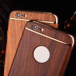 Wholesale Wood For Frames Wholesale - For iphone 7 7plus 6s 6plus hybrid 3 in 1 cases hard pc electroplate frame wood iphone wooden case free shipping.