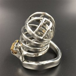 Wholesale Male Chastity Full - Device full length 65mm ,50mm cage length new chastity cage curve base ring stainless steel chastity devices for men