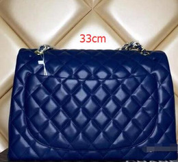 Wholesale Double Bow Ties - 58601 XXL Classial 33CM blue White Quilted Chain Genuine Caviar Leather Double Flaps Fashion Shoulder Chain Bag Gold Hw