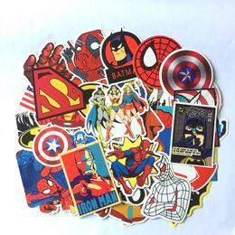 Wholesale Set Animation - 50pcs set Superman cartoon animation Spiderman hero Laptop Home Decor Vinyl Decal Skateboard Toys Waterproof Sticker Giant