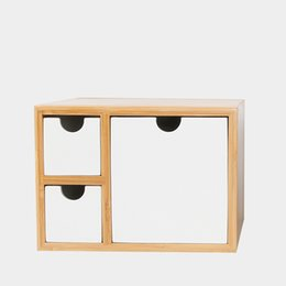 creative bamboo organizador de escritorio con cajones estilo moderno multiuso cosmestic sundries caja de joyas cuadro decoracin de la
