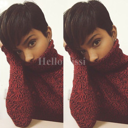 Wholesale hair styles bobs - short wigs Rihanna Pixie Cut short hair style cuts Brazilian Human Short Bob Wig With Baby Hair Lace Front Wig For Black Women