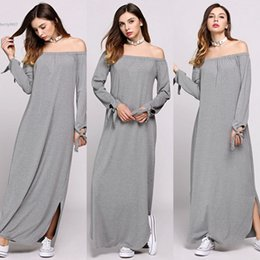 Wholesale Long Sleeve Gray Maxi Dress - New fashion maxi dress for womens clothes plus size loose Off The Shoulder Split Hem Long Lacing Sleeve Solid Casual Clothing