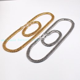 "Wholesale Double Curb Chain - High Quality Cool Stainless steel 12mm Double Link Curb Chain 24'' Necklace + 8.66"" Bracelet Fashion Set Lobster Clasp"