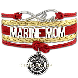 Wholesale Marines Charms - Custom-Infinity Love United States Marine Corps Bracelets Marine Mom Marine Sister Marines Bracelets Red Gold Leather Custom