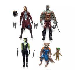 2019 juguetes de cohetes Guardianes de la galaxia 2 Figuras de acción para niños Avengers Superhero Star-Lord Rocket Baby Groot PVC toys 5pcs / set DHL Envío B001 juguetes de cohetes baratos
