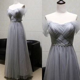Wholesale Long Embroidered Dress Feathers - Cheap Tulle Bridesmaid Dresses Gray Long Off Shoulder Gown Dress A line Formal Gowns For Wedding Party Real Pictures