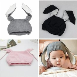 Wholesale Knit Hats For Infant Girls - MAKA Kids Winter Baby Rabbit Ears Knitted Hat Infant Toddler Cap For Children 0-3 Yrs Girl Boy Accessories Photography Props