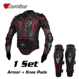 Wholesale Gear Set Motorcycle - HEROBIKER Motorcycle Riding Armor Jacket + Knee Pads Motocross Off-Road Racing Body Elbow Chest Protective Gear Protectors Set