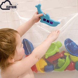 Wholesale Wholesale Wire Baskets - Wholesale- Folding Baby Bathroom Hanging Mesh Bath Toy Storage Bag Net Suction Cup Baskets Shower Toy Organiser Bags