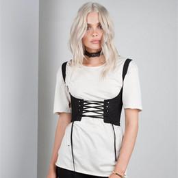 Wholesale Lace Front Corset - dongguan_wholesale black 2017 new women tank shoulders corsets belt front lace up back zipper womens' belt XD798
