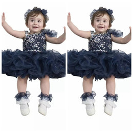 Wholesale Navy Blue Girls Tutu Dresses - Cute Baby Kids Dark Navy Special Occasion Pageant Cupcake Dresses Infant Tutu Ball Gowns Toddler Beaded Crystal Birthday Party Gowns
