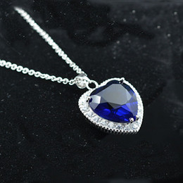 Wholesale Sterling Silver Ocean - Wholesale- AAA 100% 925 Sterling Silver Pendant Necklace Heart of Ocean Pendant Pure Natural Amethyst Necklaces Fine Jewelry Christmas Gi
