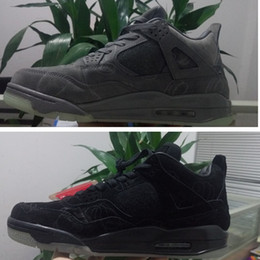 Wholesale Suede 41 - With BOX Kaws XX Retro 4s mens basketball shoes black grey Suede leather sneaker athletic tennis Air 4 footwear size 41-47