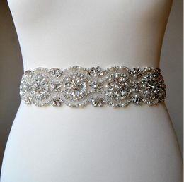 Wholesale Wedding Gown Beaded Belt - Crystal Rhinestone Wedding Gown Sash Belt 35cm of Rhinestones Ribbons Wedding Belt Bridesmaids Belt Sash Unique Luxury
