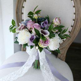 Wholesale Cheap Silk Purple Bridesmaids Bouquets - Classical Purple Bridal Holding Brooch Bouquet 2017 New Rose Hydrangea CallaLily Bacca Cheap Wedding Decoration Artificial Bridesmaid Flower