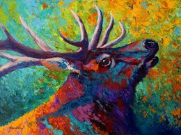 Wholesale Canvas Oil Painting Landscape Forest - Giclee forest-echo--bull-elk study oil painting arts and canvas wall decoration art Oil Painting on Canvas longhorn steer