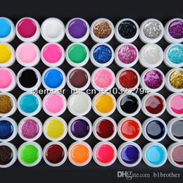 Wholesale Glitter Gel Nail Polish - Wholesale-48 Mix color vu gel nail polish Pure+ Glitter Paillette + Glitter + pearlescent nacre colors nail art uv gel set gel kit