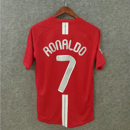 numbered soccer jerseys Coupons - Classic 2007-2008 MU retro soccer jerseys Utd football shirts top quality soccer clothing custom name number Ronaldo 7 FINAL MOSCOW