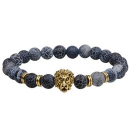 lion bracelets Promo Codes - Lava rock stone Beaded BRACELET Amazing beads punk lion Bangle Exclusive unisex fashion wrist jewelry ornaments charm Bangles Bracelets