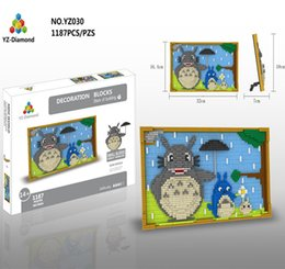 Wholesale Building Murals - 1148+pcs Mural series YZ 029-030 Diamond Building Blocks Robot Cat and Totoro model building blocks For Gift Toys