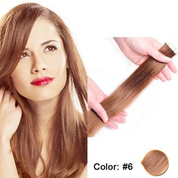 Wholesale Indian Hair Skin Weft - Drak brown human hair extensions 20pcs pack #6 indian remy tape in human hair straight PU skin weft top quality