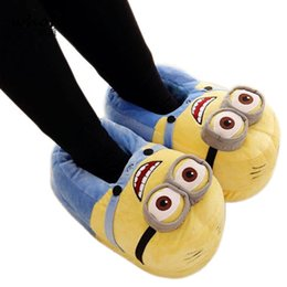 Wholesale Funny Fabrics - Winter Home Slipper Man Despicable Me Minions Indoor Slippers Plush Stuffed Funny Slippers Flock Cosplay House Shoes Adult