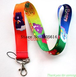 Wholesale Classic Phone Mp3 - Hot sale lovely fashion popular Care bears Lanyard  MP3 4 cell phone  keychains  Neck Strap Lanyard wholesale 20pcs Free shipping