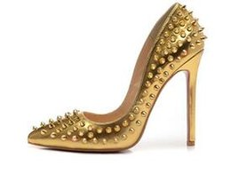 Wholesale Purple Spiked Heels - Sexy Ladies High Heels Spikes Shoes 12cm Rivets Studded Dress Shoes Women and Girls Hot Sale Candy Spike Pumps