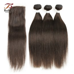 Wholesale Dark Brown Weaves - 3 Bundles with Lace Closure Dark Brown Color 4 Peruvian Straight Hair Weaves Remy Human Hair Free Middle Three Part Closure