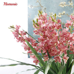 Wholesale Orchid Wedding Bouquet - Real Touch Cymbidium 21 Heads High Table Decoration Flower Diy Wedding Bride Hand Flowers Home Decor Artificial Orchid P25