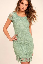 Wholesale Date Fashion Summer Dress - Newest Europe Summer fashion Lace Nightclub dating Sexy beauty Water-soluble lace Mosaic positioning flower Leaky