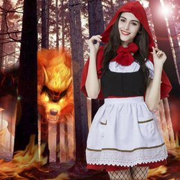 Wholesale Sexy Little Children - 2017 New Mother and Daughter Little Red Riding Hood Costume Halloween Cosplay Costume Sexy Women Child little Red Riding Hat Costumes FS3116