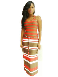 Wholesale Striped Tank Top Dress - Summer Sexy Fashion Straight Dress Tank Top Sashes Striped Long Women Dresses Vestidos