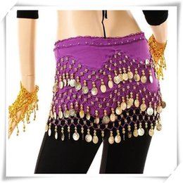 Wholesale High Quality Belly Dance - 3 Rows 98 Coins Belly Egypt Dance Hip Skirt Scarf Wrap Belt Costume High quality Stage Wear Dance Hip Skirt Scarf Free Shipping