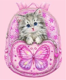 Wholesale Diy Cat Bag - New Diamond Embroidery needlework diy Diamond painting Cross Stitch Kits animal cat in bag full round diamond mosaic Room Decor yx0013