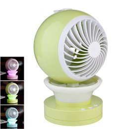 Wholesale Usb Timer Lamp - Portable Outdoor Mini Fans with LED Lamp Light Table USB Fan Spray Water Humidifier Personal Air Cooler Conditioner for Home