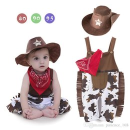 Wholesale Boys Western Hat - Europe and America style new arrivals summer baby kids climbing romper cotton short sleeve Western cowboy romper send a scarf and hat