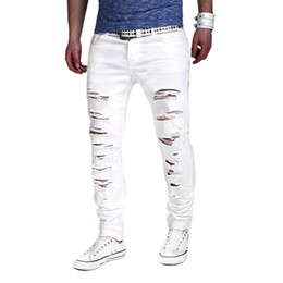 Wholesale Wholesale Bikers Belts - Wholesale- men jeans boost nmd skinny jeans men Polyester & Cotton without belt Middle Waist Men Casual frayed biker ripped jeans
