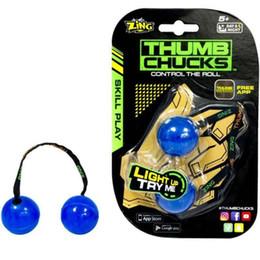 Wholesale Glow Balls Wholesale - Fidget YOYO Thumb Chucks Ball Glow In Dark Finger Skill Play Stress Balls Luminous Noctilucent Decompression Toys