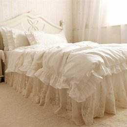 Wholesale Quilts Queen Beds - Wholesale- Top European style bedding set ruffle cake layer duvet cover quilt cover elegant lace embroidered bedspread bed skirt pillowcase