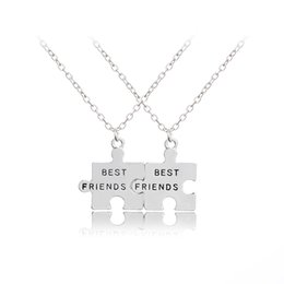 Wholesale puzzles jigsaws - 2pcs set New Jigsaw Puzzle Best Friends Necklace For 2 Handstamped BFF Two Chains Pendant Necklace Engraved Letters Gift