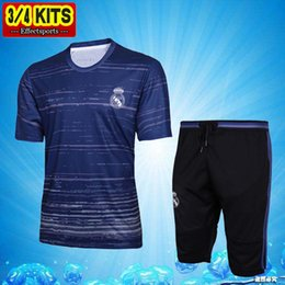 Wholesale Men S Training Pants - 2017 Real Madrid Short Sleeve Training Suit 3 4 Pants kit RONALDO 16 17 Chandal Uniforms Maillot de foot Survetement Football shirts