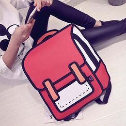 Wholesale Canvas Book Bags For Women - unny Hippie backpack fashion Cartoon printing mochila 3D backpack women backpacks Japanese school bags for teenager fleisure book bag