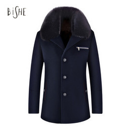 Wholesale Trench Fur Lining - Wholesale- Men's Winter Casual Detachable Fur Collar fleece lined Casaco Masculino Wool Trench Coat Jackets Single Breasted Erkek Mont 3XL