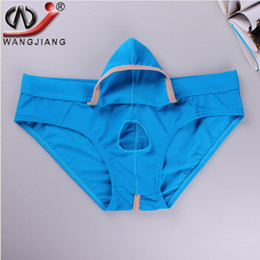 Wholesale Sexy Underwear Penis Sheath - WJ Brand Men Underwear Mesh Men's Briefs Sexy Movable Open Sheath Pouch Penis Enhancing Underwear Men Gay Bulge Jockstrap Cueca Shorts